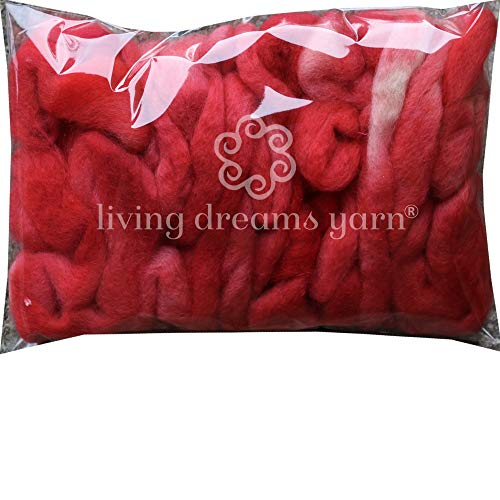 Wool Roving Hand Dyed. Super Soft BFL Combed Top Pre-Drafted for Easy Hand Spinning. Artisanal Craft Fiber ideal for Felting, Weaving, Wall Hangings and Embellishments. 1 Ounce. Crimson