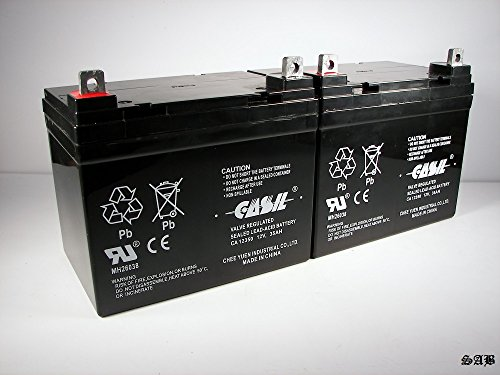 (2) Casil 12v 35ah for ActiveCare Pilot 2410 C Battery by Casil
