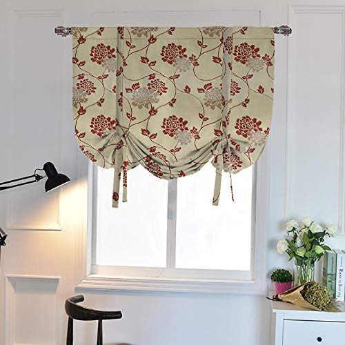 WUBODTI Valance for Kitchen Bedroom Bathroom Windows,Room Darkening Tie Up Shades Blackout Thermal Insulated Balloon Curtain Panel,32x55 Inch,Beige,Red