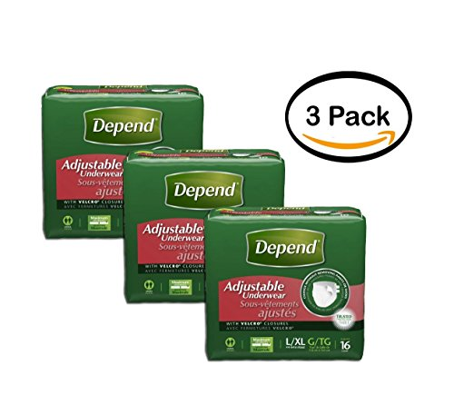 Depend Adjustable Underwear - PACK OF 3 - Depend Adjustable Underwear Maximum Absorbency, Large/Extra Large 16 Count