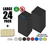 Arrowzoom New 24 Pack of (25 X 25 X 3 cm) Convoluted Foam Soundproofing Egg Crate Acoustic Foam Studio Absorbing Tiles Pads Wall Panels (BLACK)