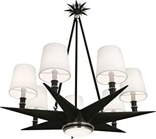 product image for Robert Abbey S1018 Cosmos - Seven Light Chandelier with LED Downlight, Deep Patina Bronze/Antique Silver Finish with Frosted Glass with Oyster Linen Fabric Shade