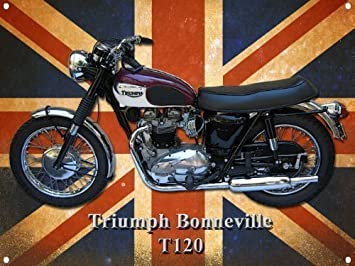 Triumph Bonneville T120 Motorcycle Metal Sign Amazoncouk Car