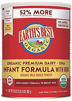 Earth's Best Organic Infant Formula with Iron - top formula for breastfed babies