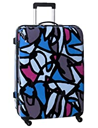 Ed Heck Scribbles Hardside 25-Inch 4-Spinner Upright Luggage, Blue