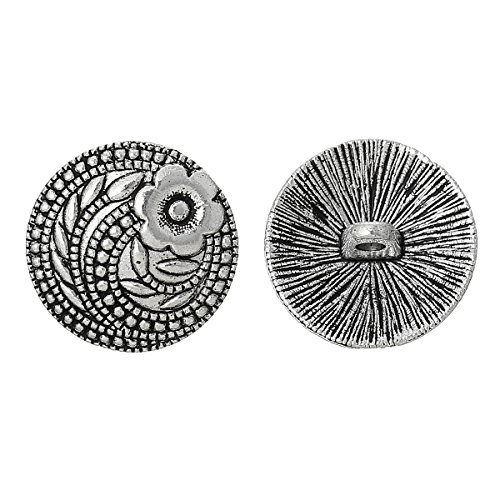 Flower Buttons Metal (PEPPERLONELY Brand 10PC Sewing Metal Buttons Round Antique Silver Flower Pattern Carved 17mm( 5/8))