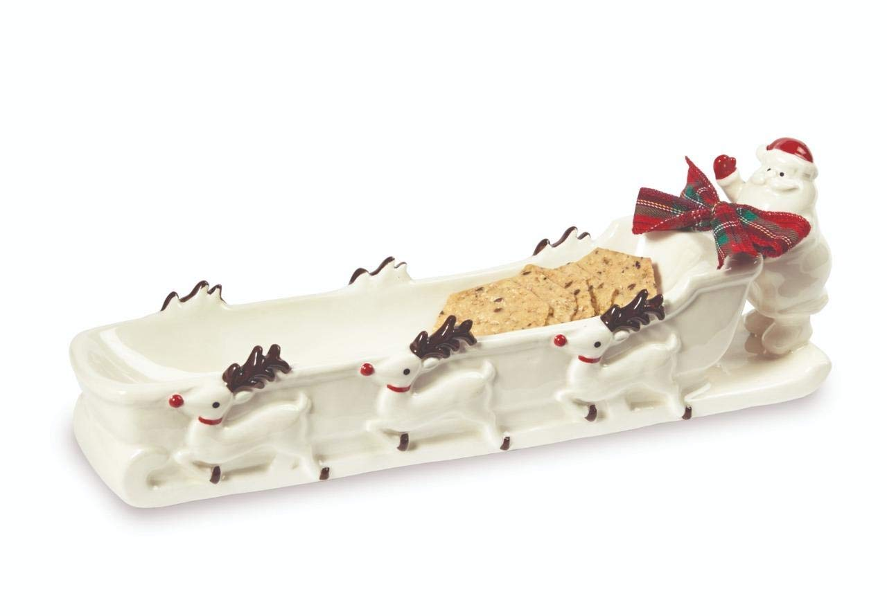 Mud Pie Home Santa and Reindeer Sleigh Christmas Cracker Dish- 4'' x 13''