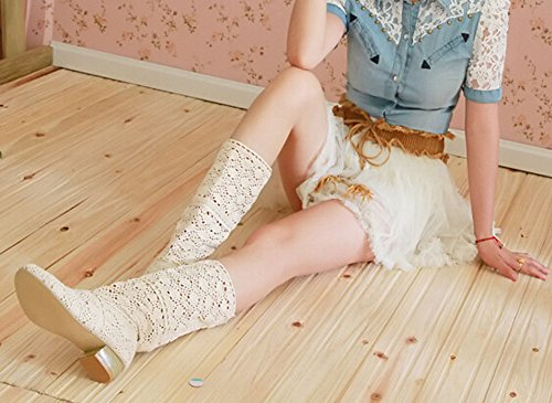 2015 Spring and summer fashion boots breathable hole female boots high-leg hole shoes knitted boots beige