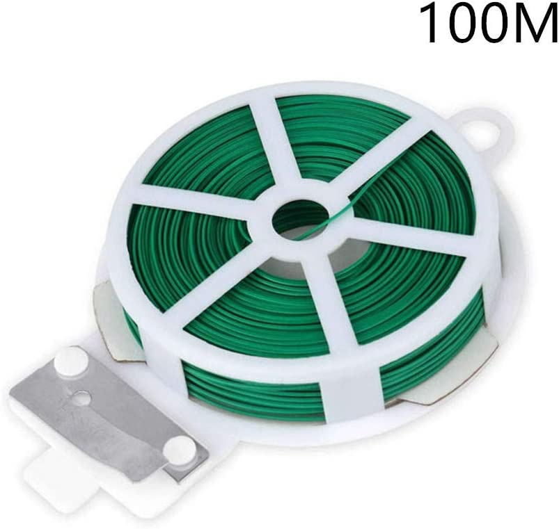 328FT 100M Gardening Plant Support Twist Tie Green Wire Roll and Cutter
