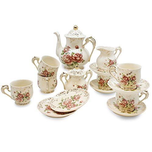 YALONG Rose Tea Set, Teapot Set -15 pcs Includes Cup and Saucer, Creamer and Sugar Set and Teapot for Wedding, Tea Party, Evening Dinner