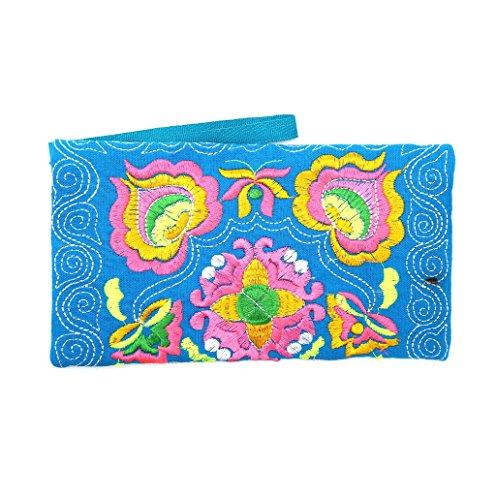 Dairyshop Portafoglio ricamato etnico Boho femminile Boho Portafoglio Handmade retro borsa del telefono (azzurro)