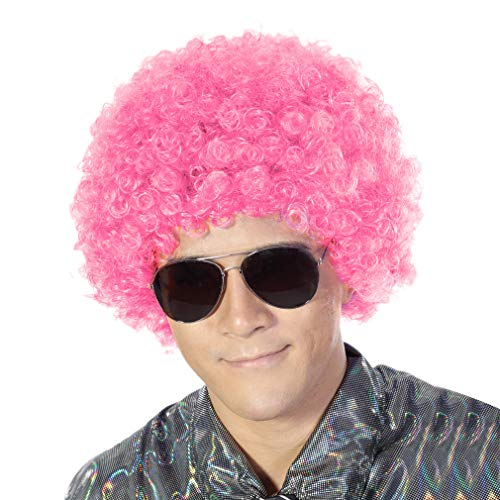 Fluffy Afro Synthetic Clown Wig for Men Women Cosplay Anime Party Christmas Halloween Fancy Funny Wigs (Pink) ()