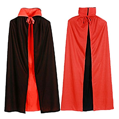 Black Vampire Dracula Fancy Red Halloween Men Cloak Long Reversable Dress for Cape Male Costume 140cm wgrqSUw7
