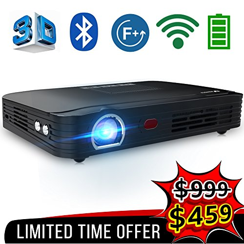 "WOWOTO T8E Full HD Mini Portable Projector WiFi&Bluetooth Home Theater Projector Support 1080P Max300"" DLP 3D Video Projector Built in Battery 7800mAh Android System For Gaming Business&Education"