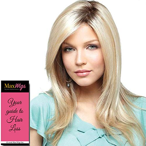 "Milan Hair Topper Color Raisin Glaze Rooted - Noriko Wigs 15"" Long Top Piece Synthetic Hand-Tied Monofilament Cap Add Volume Bundle MaxWigs Hairloss Booklet"
