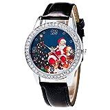 Christmas Pattern Rhinestone Dial Faux Leather Strap Couples Analog Quartz Wristwatch