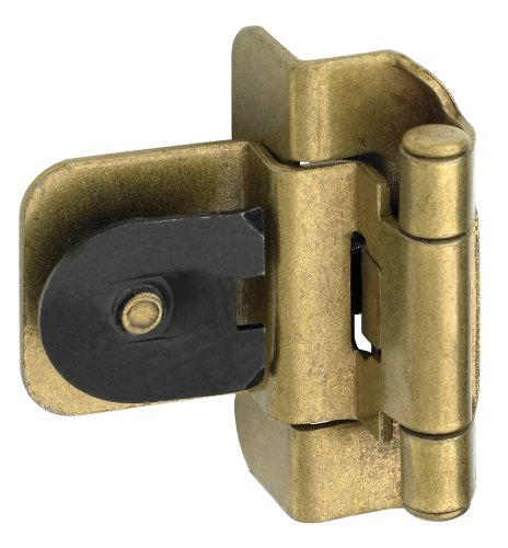 Amerock BPR8700BB 3/8in (10 mm) Inset Double Demountable Burnished Brass Hinge - 2 Pack - Brass Double Clamp