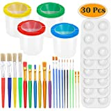 PAXCOO 30 Pcs Paint Cups with Lids No Spill Paint Cups with Paint Brushes and Paint Tray Palettes Cups for Art Class