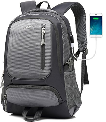 MOGGEI Backpack For School Bookbag College Student Business Travel with USB Charging Port Fit Laptop Up to 15.6 Inch (Grey) by MOGGEI