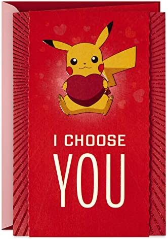 Hallmark Pokémon Valentines Day Card, Anniversary Card, Love Card (Pikachu, I Choose You)