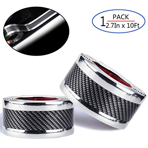 Universal Car Door Entry Sill Guard Scuff Plate Protectors -Carbon Fiber Rubber Front Rear Guard Bumper Seal Strip, Pedal Protect, Anti-Kick Scratch for Cars Doors (width7CM long3M, Silver) ()