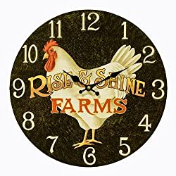 Rise & Shine Country Rooster Wall Clock