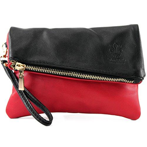 Sac modamoda Kirschrot cuir sac d'embrayage T95 petites Schwarz sac ital en de poignet cuir de d'épaule de dames en OHvrWnHxT