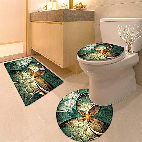 (Printsonne Bathroom Non-Slip Rug Set Art Featured Surreal Flowers Motif Dreamy Imaginary Creative Concept Jade Green Gold in Bath Mat Bathroom Rugs )
