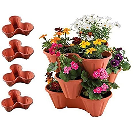 Set di 4 vasi impilabili in plastica color terracotta, per ...