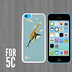 Pirate Giraffe Riding Shark Custom made Case/Cover/skin FOR Apple iPhone 5c - White - Rubber Case + FREE SCREEN PROTECTOR ( Ship From CA)