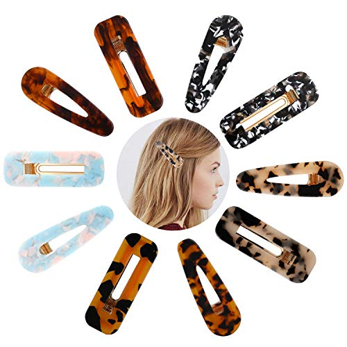 Acrylic Hair Barrettes for Women Girls 10 pcs Resin Hair Clips Alligator Marble Hair Clips Tortoise Ladies Fashion Geometric Large Snap Hairpins Hair Accessories Solid Color Styling Headwear Set (Tortoise Alligator Hair Clips)