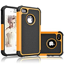 iPhone 4 Case, iPhone 4S Case,AUMIAU Hybrid Dual Layer Shockproof Armor Defender Protective Case Cover with Hard Plastic and Soft Silicon for Apple iPhone 4S/4 (Orange)