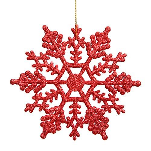 Plastic Glitter Snowflake, 4-Inch, Red, 24 Per Box