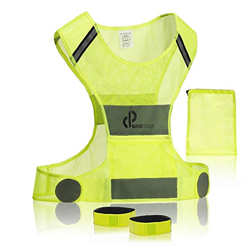 Reflective Running Vest for Your Best High Visibility•Reflective Running Gear useful for Cycling, Motorcycle, Dog Walking, Jogging•Safety Vest for Bicycle with Pockets •Two Armbands & Mesh Bag
