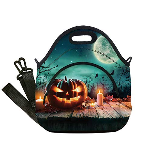 Insulated Lunch Bag,Neoprene Lunch Tote Bags,Halloween,Fantastic Magic Night Spooky Atmosphere Candles Pumpkin on Wooden Planks Print,Multicolor,for Adults and children -