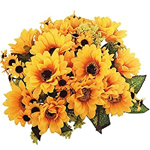 BECOR Artificial Sunflowers Bouquet Fake Silk Flower Plant Wedding Home Party Table Decor 102