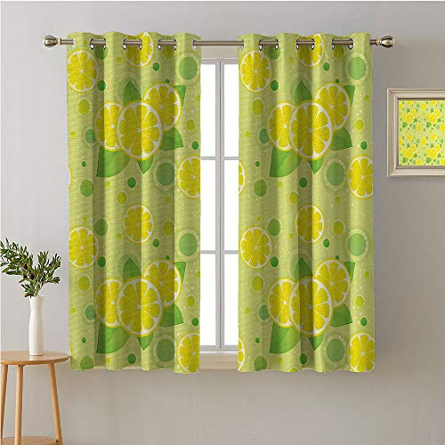 Jinguizi Vintage Fabric The Yard Grommets Drapes/Draperies,Lemon Lime Pattern in Retro Vintage Style Citrus Fruit Circles Natural Image,Fashion Darkening Curtains,108W x 72L