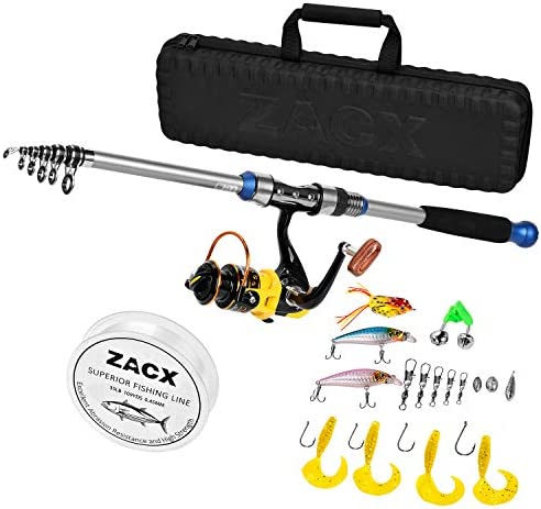 ZACX Telescopic Fishing Rod and Reel Combos Full Kits, Spinning Fishing Gear Pole Sets with Line Lures Hooks and Premium Portable Case for Sea Saltwater Freshwater, Fishing Gifts for Men