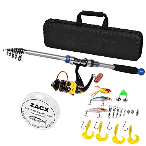 ZACX Telescopic Fishing Rod and Reel Combos Full Kits, Spinning Fishing Gear Pole Sets with Line Lures Hooks and Premium Portable Case for Sea Saltwater Freshwater, Fishing Gifts for Men (6.89)