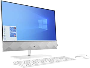 HP Pavilion 27 Touch Desktop 4TB SSD 64GB RAM (Intel 10th gen Processor with Six cores and Turbo Boost to 4.30GHz, 64 GB RAM, 4 TB SSD, 27-inch FullHD Touchscreen, Win 10) PC Computer All-in-One