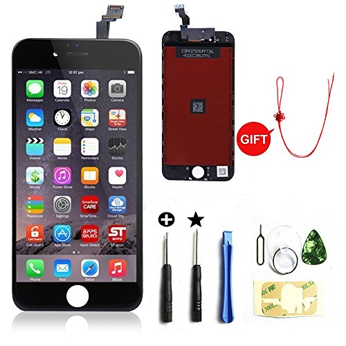 Display Replacement Kit (LCD Display &Touch Screen Digitizer Replacement Full Assembly for iPhone 6 (4.7 inch) With Free Tools Kit (Black))