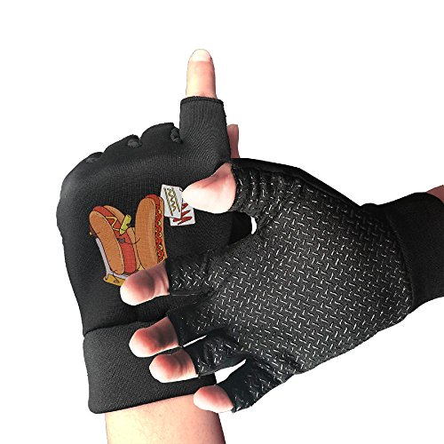 Addressverb Cycling Half Finger Gloves Funny Hot Dogs Mens Womens Anti-slip Shockproof Foam Padded Gel Pad Gym Boxing Sports Gloves -