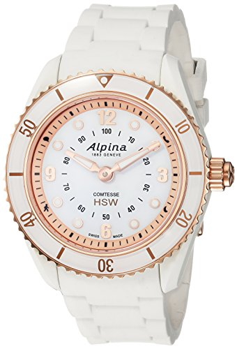 Alpina Women's 'Comtesse' Swiss Quartz Stainless Steel and Rubber Fitness Watch, Color:White (Model: AL-281WY3V4)