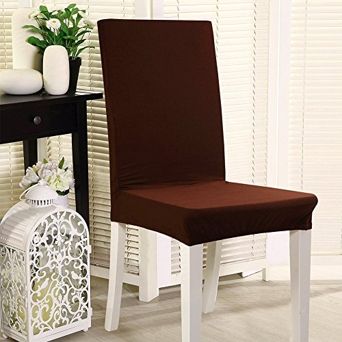 Set of 4 Stretch Chair Slipcovers Polyester Spandex Washable Dining Chair Covers Removable Furniture Chair Protector Cover For Dining Room Hotel Banquet Wedding Party