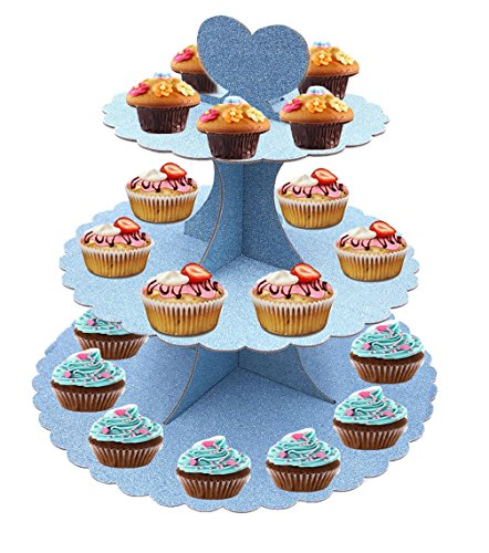 3 Tier Tree Tower Cupcake Display Stand/ Dessert Tower for Maypole Square Wedding Party or Baby Shower Decorations (14 (3 Squares Kitchen Shower)