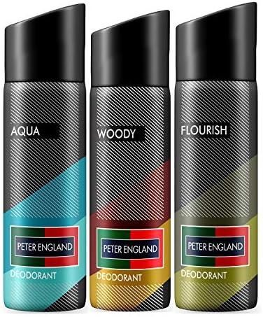 Peter England Aqua, Woody & Flourish Deodorant, 150 ml (Pack of 3)