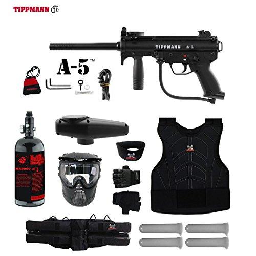 Tippmann A-5 Standard Starter Protective HPA Paintball Gun Package - Black