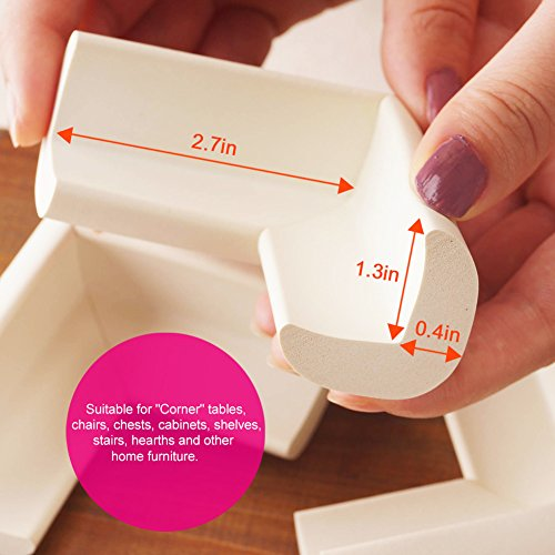 BABY MATE 12 PCS Beige High Density Foam Baby Corner Guards - Table Corner Protectors for Baby Safety Corner Guards Bumpers - Corner Cushion Guards Baby Furniture Safety Bumpers -Corner Protector Baby by Baby Mate (Image #4)