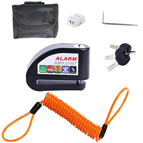 ILamourCar Disc Brake Lock,Alarm Disc Lock,Motorcycle Bike Anti-theft&Waterproof Brake Disc Wheel Alarm Security Lock,110dB Alarm Sound and 6mm Pin with 1.3m Reminder Cable for Motorcycles - Black by ILamourCar (Image #2)
