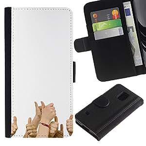 EJOY---Tirón de la caja Cartera de cuero con ranuras para tarjetas / Samsung Galaxy S5 V SM-G900 / --Divertido PULGARES PARA ARRIBA
